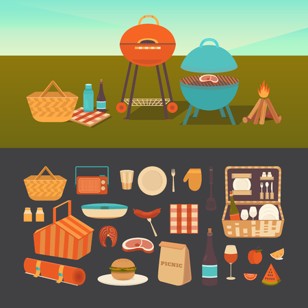 Vector set of summer picnic. Barbecue outdoors. Illustration of a picnic in the park. Family weekend in nature. Collection of icons: barbecue grills, basket, fruits, sandwich, wine.
