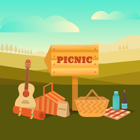Vector illustration of a picnic outdoors. Summer barbecues in the park. Weekend with family and friends. Collection of icons: basket, food, wine, guitar and others.