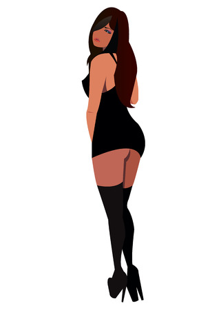vector girl female stockings fashion illustration woman