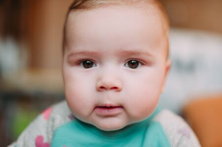 Photo pour little cute baby toddler on carpet close up smiling adorable happy emotional playing at home - image libre de droit
