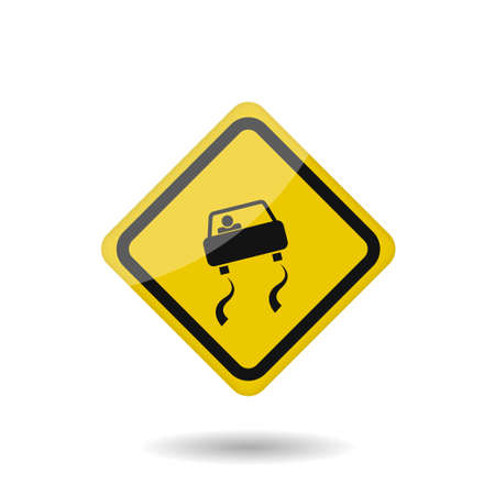 Illustration pour Yellow warning slippery road sign. Vector illustration - image libre de droit