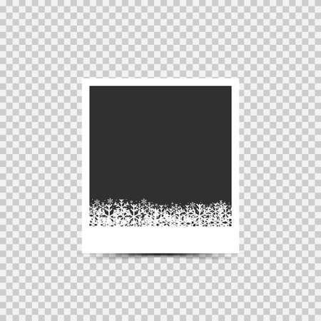 Illustration pour Christmas Blank photo frame. Christmas Empty blank photo frame with snowflakes - image libre de droit