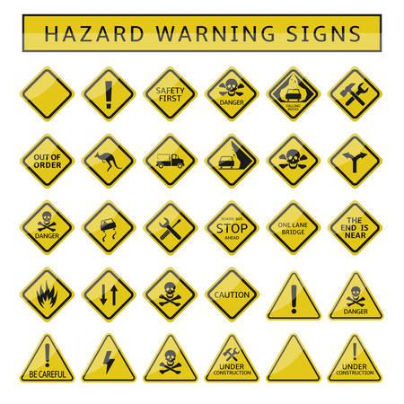 Illustration pour Hazard warning signs. Yellow warning symbol set, caution danger signs - image libre de droit
