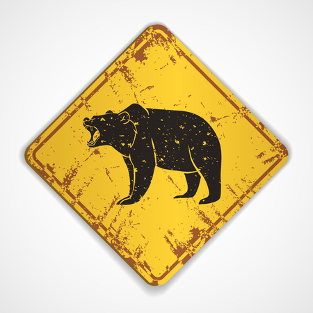 Old metal plate with roaring bear.Vector illustration