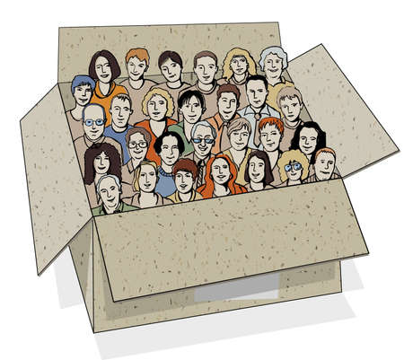 Ilustración de Big group of people in the box. The big group of different characters unrecognizable people in the box like metaphor of work team. Color vector illustration. - Imagen libre de derechos