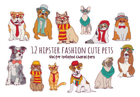 Illustration pour Cute cats and dogs fashion hipster isolated pets. - image libre de droit
