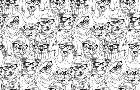Illustration pour Cute dog fashion hipster black seamless pattern. - image libre de droit