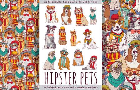 Illustration pour Hipster cute pets cats and dogs set. - image libre de droit