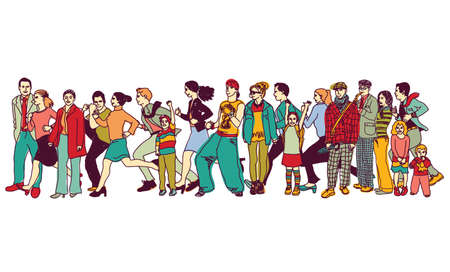 Big group people standing queue tail waiting line. Color vector illustration.