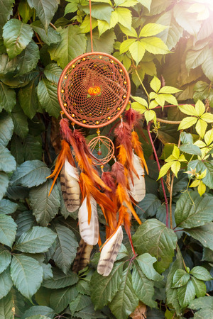 Dream catcher with feathers threads and beads rope hanging. Dreamcatcher handmadeの写真素材