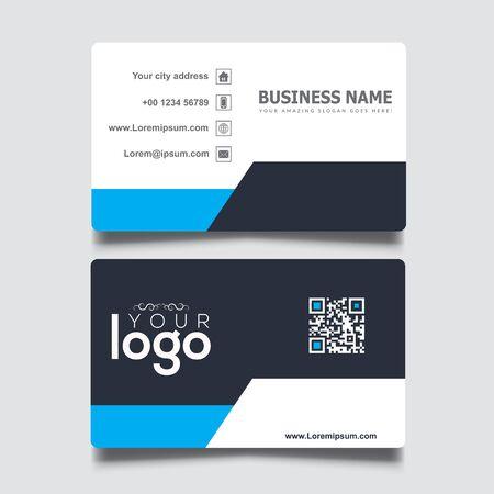 Illustration pour Black, white and blue simple business card template - image libre de droit