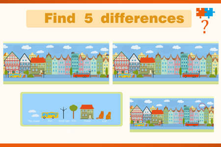 Illustration pour Find the difference in a children's game with houses and cats on the street - image libre de droit