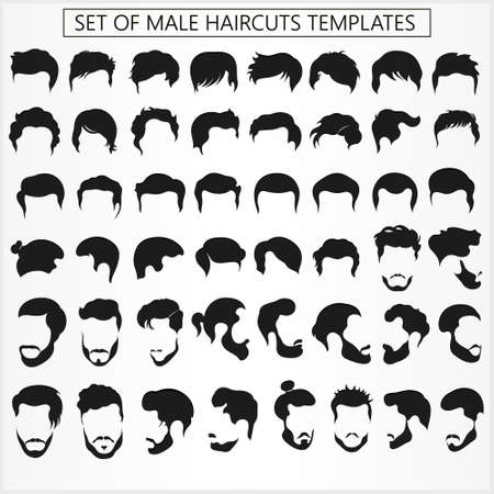 Illustration for Set of male haircuts and hairstyles with a beard on a white background - Royalty Free Image