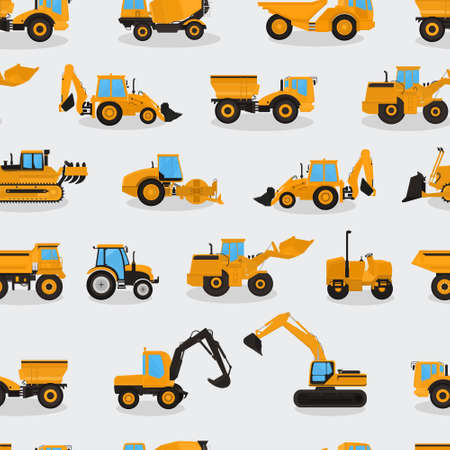 Illustration pour Seamless vector pattern with work machines and equipment on a light background. - image libre de droit