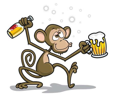 Ilustración de Drunk Monkey - Imagen libre de derechos