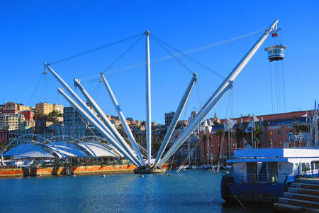 View of the ancient port of Genoa, in foreground the Bigo, panoramic lift designed in 1992 by architect Renzo Piano.