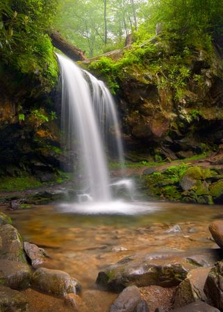 Grotto falls Smoky Mountains waterfalls nature landscape using slow shutter for silky smooth waterfall effect