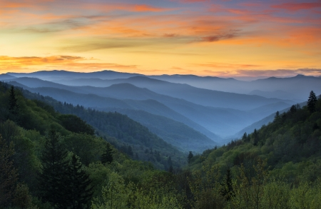 Sunrise Landscape Great Smoky Mountains National Park Gatlinburg TN and Oconaluftee Valley Cherokee NC