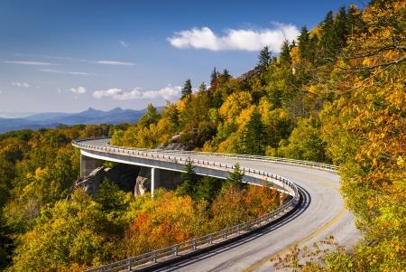 Blue Ridge Parkway Linn Cove Viaduct North Carolina Appalachian Landscape scenic travel photography in autumn