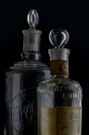 12-sep-2004 vintage european  Eau de Cologne.bottles in black background-Kalyan Maharashtra INDIA