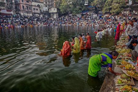 28-Oct-2006-Chhat pooja  is dedicated to the Sun GOD and his sister at Banganga Walkeshwar Bombay INDIA asi