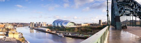 Newcastle Quay panorama of the river Tyne and its iconic bridges from the Tyne bridge