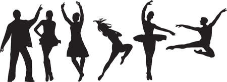 Vector silhouette of dancers