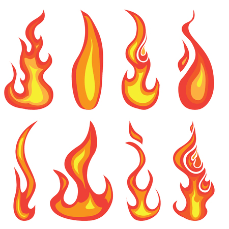 Illustration for A set of hand drawn red hot flames and fire icon design elements isolated on a white background - Royalty Free Image