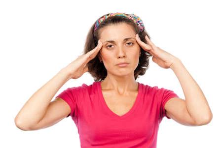 Tired pretty girl with a headache