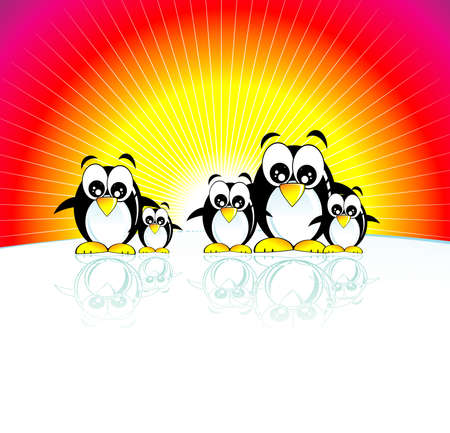 Funny family of penguins and south pole