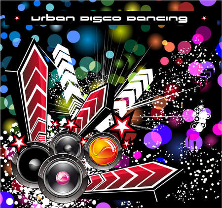 Hip Hop Music Disco Event BAckground with Rainbow Glitter Background