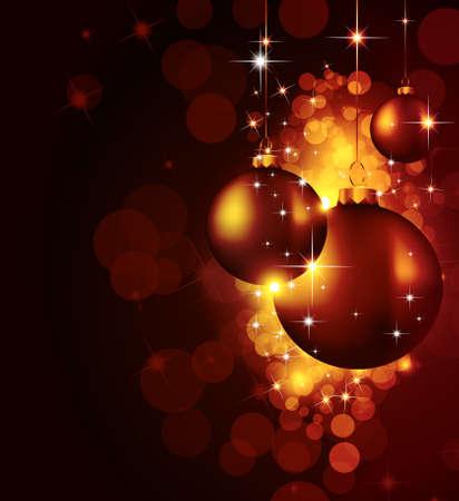 Colorful Christmas Baubles Background for Elegant Invitation Flyer or Brochure