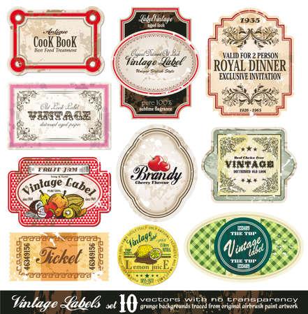 Foto de Vintage Labels Collection - 10 design elements with original antique style -Set 10 - Imagen libre de derechos