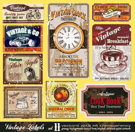 Foto de Vintage Labels Collection - nine design elements with original antique style -Set 11 - Imagen libre de derechos