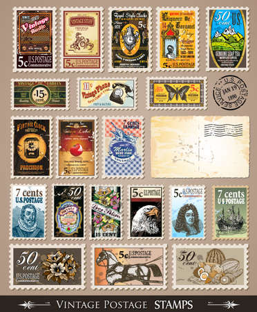 Collection of Vintage Postage Stamps with Various Themes and prices. Empty  distressed postcards and rubber stamps are included