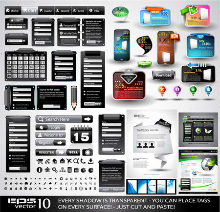 Web Stuff black Extreme Collection: 3 Full websites,hundreds of icons,headers,footers,login forms, paper tag with transparent shadow,stickers,business cards and so on