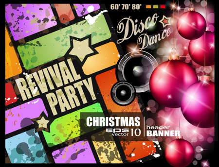 Vintage revival party flyer for Christmas disco music event.