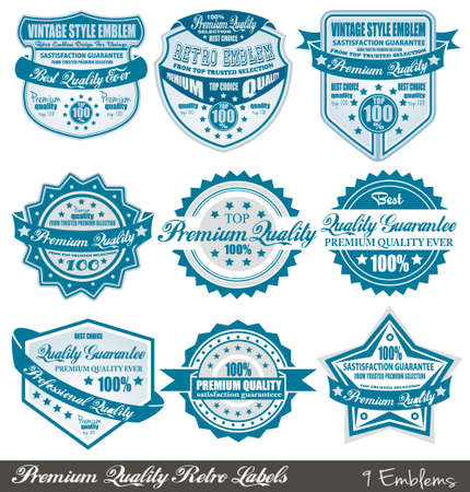 Premium Quality and Satisfaction Guarantee labels with retro graphic style and delicate colours.