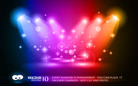 Illustration pour Magic Spotlights with Blue rays and glowing effect for people or product advertising. Every lights and shadow are transparent. - image libre de droit