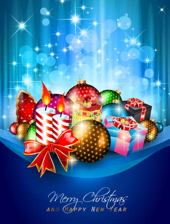 Elegant greetings background for flyers or brochure for Christmas or New Year Events with a lot of stunning Colorful baubles.