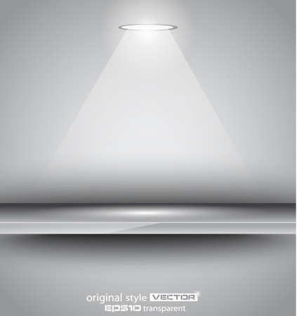 Shelf with LED spotlight with delicate look on a grey gradeientwallpaper. Shadows are transparent.