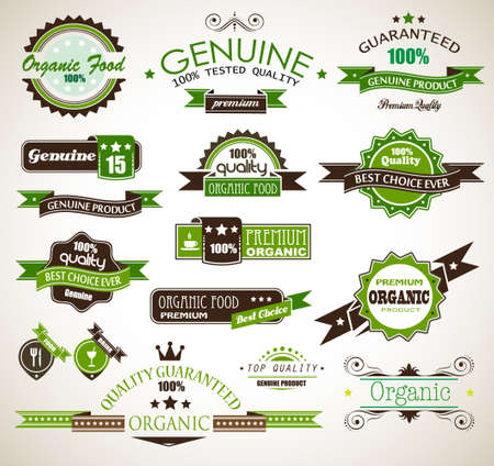 Organic and Genuine product premium labels  Many different style with space for your text