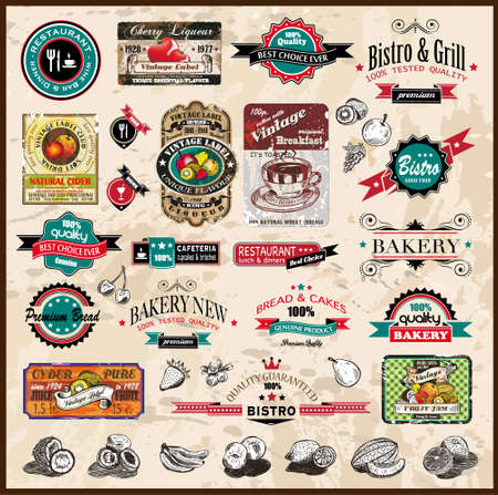 Premium quality collection of Vintage Restaurant, bistro and food   co labels with different styles and space for text