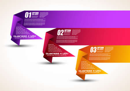 Option tag with origami paper style for infographics, brochure or business presentations  3 different colors