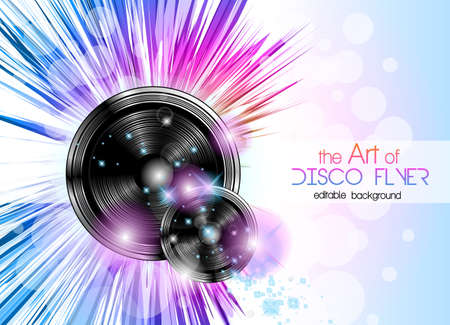 Disco Club Flyer With A Lot Of Abstract Colorful Design Elements