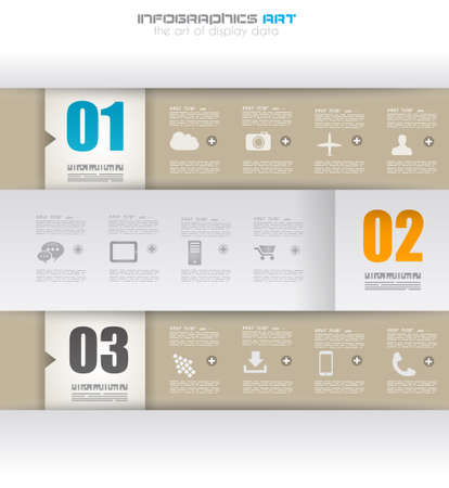 Ilustración de Infographic design template with paper tags. Idea to display information, ranking and statistics with orginal and modern style. - Imagen libre de derechos
