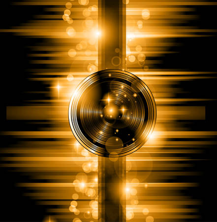Illustration for The Art of Disco Flyer - Stunning Speakers shape and a lot of stars and ray lights. - Royalty Free Image