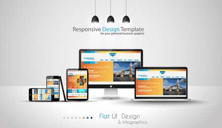 Ilustración de Modern devices mockups fpr your business projects. webtemplates included. - Imagen libre de derechos