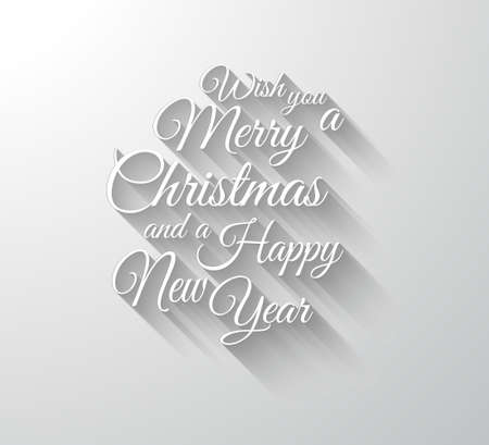 Illustration pour Merry Chrstimas Retro Typography slogan with long shadows. Shadows are transparent so ready to copy on every surface. - image libre de droit