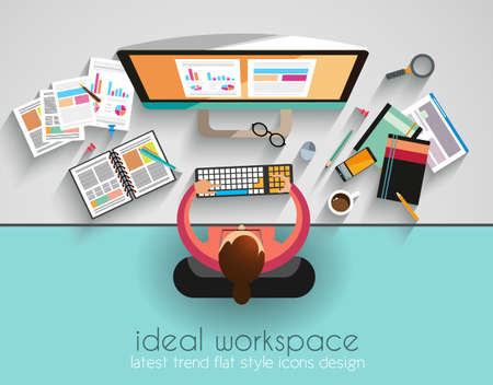 Ilustración de Ideal Workspace for teamwork and brainsotrming with Flat style. A lot of design elements are included: computers, mobile devices, desk supplies, pencil,coffee mug, sheeets,documents and so on - Imagen libre de derechos